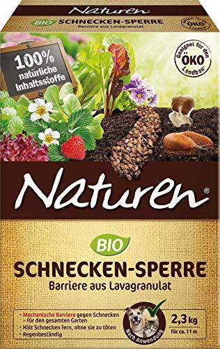 Naturen Bio Schnecken-Sperre, Regenbeständige Barriere aus speziellem Lavagranulat zur Abwehr von Schnecken im Garten, schützt Zierpflanzen-, Gemüse- und Obstbeete, 2,3 kg Packung