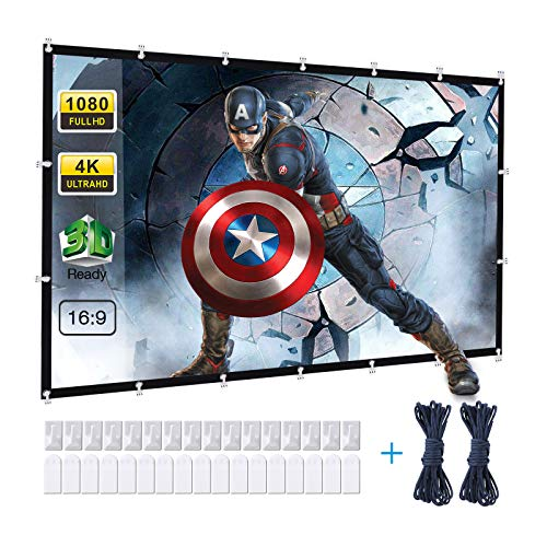 120 Inch Projector Screen, Powerextra 16:9 HD 4K Foldable Anti-Crease Portable Projector Screen for Home Theater Indoor Outdoor Movie Screen, Support Double-Sided Projection