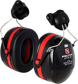 3M PELTOR Optime III Earmuffs, 34 dB, Black/Red, Helmet Mounted, H540P3EA-413-SV