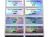 250 Holographic Rainbow Finish Asset Identification Security Labels 1.5' x 0.6' (38mm x 15mm), Custom Print.