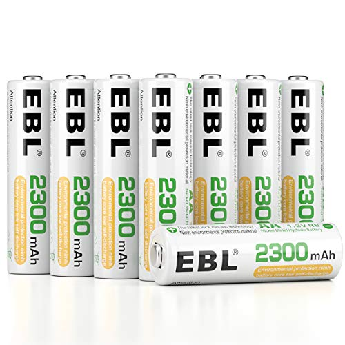 EBL Pack of 16 AA Batteries Rechargeable NiMH 2300mAh Everyday Battery