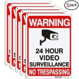 Video Surveillance Sign, MOLAER 5-Pack No Trespassing Signs, 10' x 7' UV Printed Waterproof Reflective 40 Aluminum Material, for Outdoor Security Camera Warning