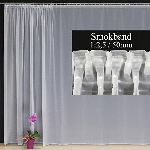 EASYHomefashion Hochwertige Fertiggardine Voile Store mit Faltenband&Bleiband SMOKBAND 1:2,5/50 mm, versch. Größen, 235 x 300 cm (HöhexBreite)