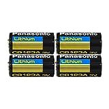 Panasonic CR123A Lithium 3V Photo Lithium Batteries, 0.67' Dia x 1.36' H (17.0 mm x 34.5 mm), Black, Gold, Blue (Pack of 4)