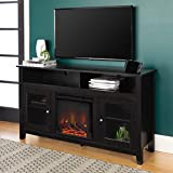 Walker Edison Furniture Company Rustic Wood and Glass Tall Fireplace Stand for TV's up to 64' Flat Screen Living Room Storage Cabinet Doors and Shelves Entertainment Center, 32 Inches, Black