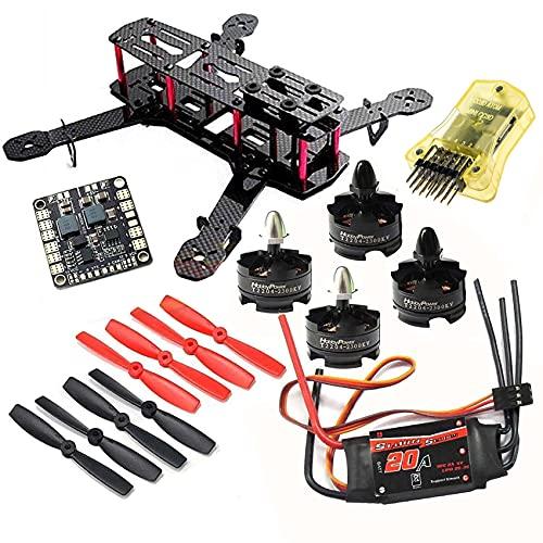 powerday DIY 250 Quadcopter H250 Racing Drone Kit Telaio & T2204 2300KV Motore e Simonk 20A ESC & CC3D Controller di volo & 5045 Elica & Matek Power Hub