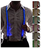 Light Up Suspenders for Men by Neon Nightlife | LED Suit | Novelty Festival Clothing | Neon Party Accessories | 7 Color Selection LED Battery Pack