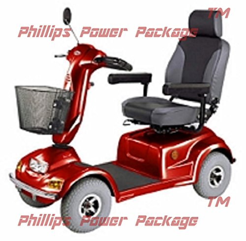 CTM - HS-890 - Full Size Bariatric Heavy Duty Road Class Scooter - 4-Wheel - Burgundy - Phillips Power Package TM - to $500 Value