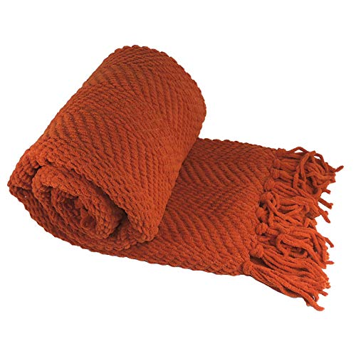 Home Soft Things Red Throw Blanket Knitted Tweed Throw 50'' x 60'', Rust, Super Soft Cozy Warm Throw for Living Room Chair Couch Bed Sofa Bedroom Décor