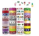 HebyTinco Paquete de Cintas Adhesivas Washi 40 Rollos, Adhesivas Decorativas con diseños exclusivos, Maletín de Maquillaje Bullet para DIY Manualidades, Diarios, Planificadore
