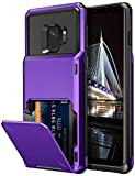Vofolen Case for Galaxy S9 Case Wallet ID Slot Credit Card Holder Pocket Scratch Resistant Dual Layer Protective Bumper Rugged TPU Rubber Armor Hard Shell Case Cover for Samsung Galaxy S9 (Purple)