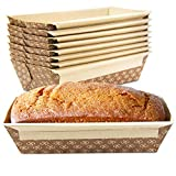 [30 Pack] 1 LB Kraft Paper Bread Loaf Pan Disposable Corrugated Recyclable Bakery Pastry Rectangle Pans with Artisan Print for Baking, Microwave Freezer and Oven Safe
