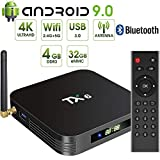 Android 9.0 TV Box,Pendoo TX6 Android TV Box 4GB DDR3 32GB EMMC Dual WiFi 2.4G+5G Bluetooth Quad Core 3D 4K Ultra HD H.265 USB3.0 Android TV Box