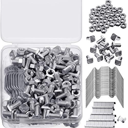 Hotop Kit de Reparación de Invernadero, Incluye 50 Clips de Invernadero de Vidrio Clips de Alambre W, 50 Clips de Clips Superpuestos en Z, 50 Nueces de Invernadero de Aluminio y 50 Pernos de Alumnio