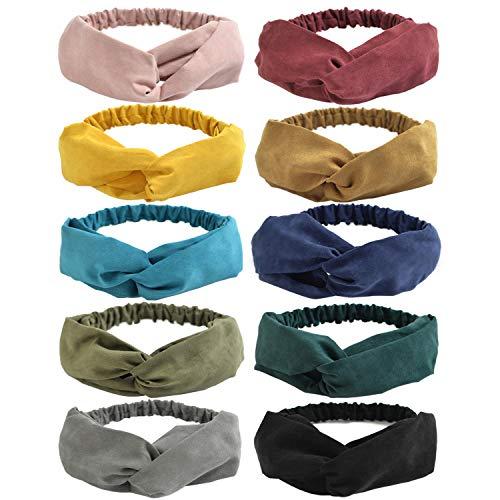DRESHOW 10 Pezzi Fasce per Capelli Donna Vintage Cerchietti e Fasce per Capelli Elastica Turbante Fasce Yoga Testa Contorta Accessori Capelli per Donna e Ragazza
