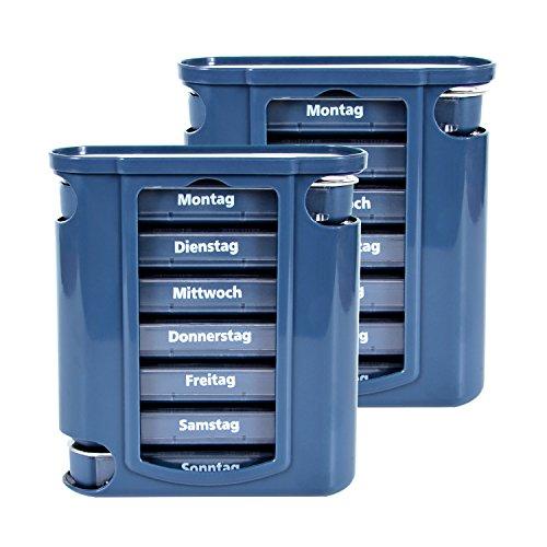Pillendose 2 x 7 Tage, Pillenbox, Pillenturm, Medikamentenbox, Tablettenbox, Wochendispenser