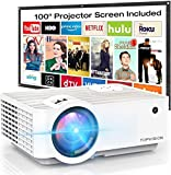 """Video Projector, Top vision 6500L Portable Mini Projector with 100"""" Projector Screen, 1080P..."""