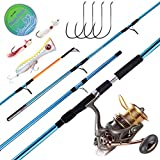 Dr.Fish Saltwater Surf Fishing Rod and Reel Combos Full Kit 11.8ft Heavy Surf Rod Carbon Fiber 10000 Spinning Reel Heavy Duty Big Game Offshore Inshore Fishing Outfit GT Popper