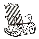 CLP Eisen-Schaukelstuhl SMILLA im Landhausstil I Schwingstuhl mit hoher Rückenlehne I erhältlich, Farbe:Bronze
