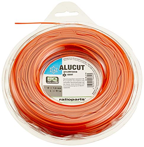RATIOPARTS - Filo in Nylon da Taglio, 1,6 mm, 91 m, 6 spigoli, Colore: Arancione