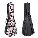 CLOUDMUSIC Hawaiian Ukulele Case Ukulele Backpack Pink Cherry Flower Sakura For Soprano Ukulele (Soprano, Black)