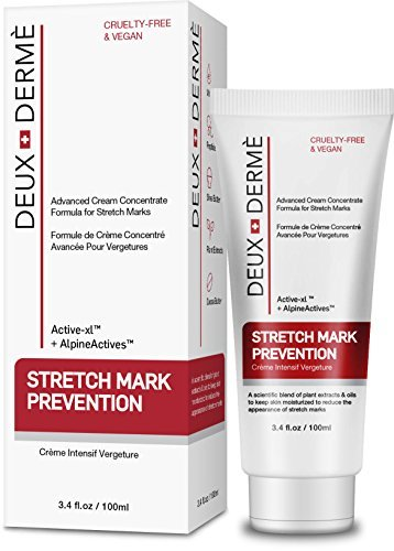 Deux Derme - Stretch Mark Prevention Cream, with Vitamin E, Cocoa Butter for Pregnancy, Weight Gain, 3.4 oz.
