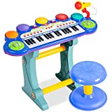 Best Choice Products 37-Key Kids Electronic Musical Instrument Piano Learning Toy Keyboard w/ Multiple Sounds, Lights, Microphone, Stool - Blue