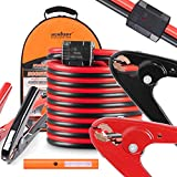 25 FT Jumper Cables, 1-Gauge 800A Heavy Duty Jumper Battery Cables 25 Ft Booster Jump Start, Reverse Polarity Protection - ETL Certified