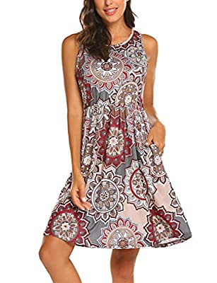 65% cotton is comfortable lightweight and stretchable,hidden pockets is a bonus Sundress with high waisted design let you look more slender,sleeveless racerback style is very trendy and cool in summer This boho dress looks attractive to pair with bel...