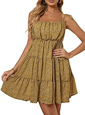 The floral dress designed with tiered ruffle detailing, very exquisite to show a feminine charm,pretty adroable. Thin adjustable tie straps, above the knee length and shirred at back, invisible side zip,show your elegance if yo wear this dress. Fashi...