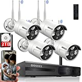 [Dual Antennas for WiFi Enhanced] 2K 3.0MP Wireless Security Camera System, Surveillance NVR Kits with 2TB Hard Drive, 4Pcs Outdoor WiFi Security Cameras, AI Detection, with Audio, Night Vision