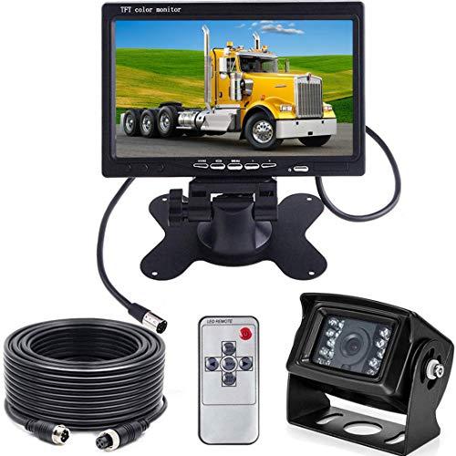 HUACANG - Telecamera posteriore da 12 V 24 V e sistema di monitor HD TFT LCD per retromarcia per camper, camion e rimorchi, impermeabile, visione notturna, con cavo connettore da 12 m a 4 spinotti