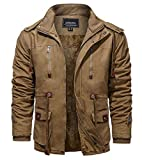 KEFITEVD Veste d'hiver pour homme en polaire coupe-vent avec capuche et poches multiples, kaki, XL
