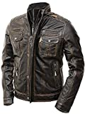 Abbraci Men's Motorcycle Biker Slim Fit Vintage Distressed Brown Cafe Racer Real Leather Jacket (Medium, Brown)
