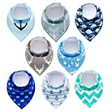 PandaEar Baby Bandana Drool Bibs 8 Pack for Drooling and Teething, Super Absorbent Hypoallergenic, Neutral Color for Boys & Girls
