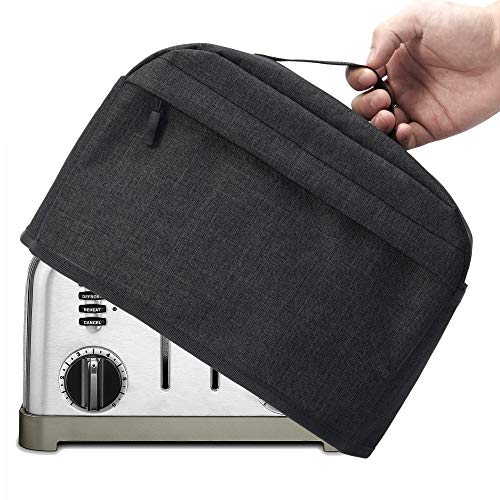 VOSDANS 4 Slice Toaster Cover with Zipper & Open Pockets Kitchen Small Appliance Cover with Handle,...