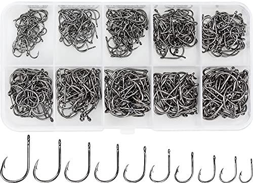 500 Pz Amo da Pesca Occhiello, Esca Ami da Pesca in Acciaio al Carbonio, Gancio da Pesca in 10 Dimensione Ganci Spinato e Scatola di Plastica per La Pesca d'Acqua Dolce e di Mare, 3# -12#