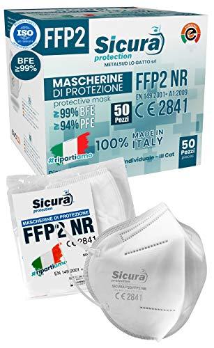Eurocali 50 Mascherine FFP2 Certificate CE Italia Adulti   BFE ≥99%   Mascherina ffp2 SANIFICATA e sigillata...