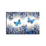 juntop HD Canvas Painting Impresiones artsticas para Pared 1 Pieza Mariposas Azules y Blancas gypsophila paniculata Fotos decoracin del hogar-60x90cm Sin Marco