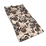 JASMODER Funny Pugs Kitchen Towels Microfiber Terry Bath Hand Towels Salon Towels for Kitchen Bathroom Hotel Spa 27.5'' X15.7 Inch