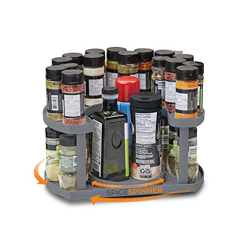 Spice Spinner Two-Tiered Spice Organizer & Holder That Saves Space, Keeps Everything Neat, Organized & Within Reach...