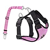 AUTOWT Dog Safety Vest Harness, Pink Pet Car Harness Dog Safety Seatbelt Breathable Mesh Fabric Vest with Adjustable Strap for Travel and Daily Use in Vehicle for Doggie Puppy Cats (XS, Pink)