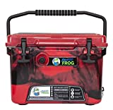 Frosted Frog Red Camo 20 Quart Ice Chest Heavy Duty High Performance Roto-Molded Commercial Grade Insulated Cooler