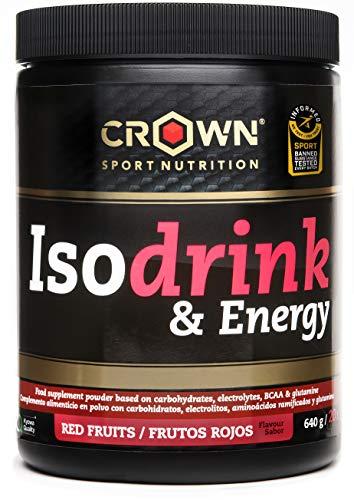 Crown Sport Nutrition Isotonic Drink con certificación antidoping Informed Sport, Bebida isotónica con carbohidratos, BCAAs, glutamina y electrolitos para deportistas, Sabor de Frutos Rojos - 640 g