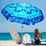 AMMSUN 6.5ft Heavy Duty Windproof Tilt Portable Umbrella with Sand Anchor, Cool Ice Pattern Unique Beach Umbrella Portable UV 50+ Protection with carry bag for Patio Garden Beach Pool Backyard Blue