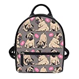 LedBack Pug Printed Mini Backpack Purse Teen Girls PU Leather Fashion Backpack