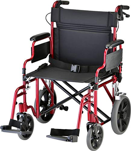 NOVA Medical Products Bariatric Transport Chair with Locking Hand Brakes, 400 lb. Weight Capacity, Red, 1 Count