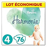 Pampers - Harmonie - Couches Taille 4 (9-14kg) Hypoallergénique -  Lot...