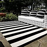 Black and White Cotton Outdoor Rug, 5'x8' Soft Striped Area Rug Woven Washable Farmhouse Durable Carpet Mat for Patios Clearance Bedroom Living Room Balcony Playroom Decor