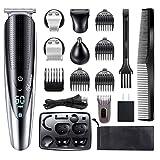 Hattteker Mens Beard Trimmer Grooming kit Hair trimmer Mustache trimmer Body groomer Trimmer for Nose Ear Facial Hair Cordless Waterproof 5 In 1